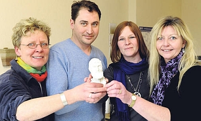 The team from the Galen practice with the bust from EGO3D